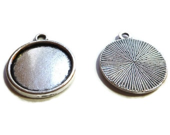 Antique Silver Bezel - 16mm Tray - Cabochon Setting - Tibetan Silver Style Blank - 22mm x 19mm x 2mm - 100 50 20 10 or 5 Blanks - starburst