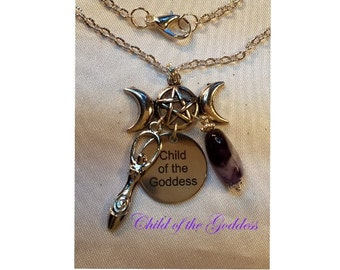 Child of the Goddess Necklace  - Amethyst Chevron Nugget