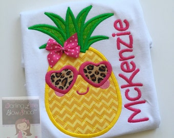 Pineapple shirt, tank top or bodysuit for girls - Pineapple of My Eye - Pineapple shirt with leopard print sunglasses size NB to girls 12