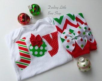Newborn Christmas Outfit -- *Christmas Joy* bodysuit and leg warmers -- My First Christmas -- chevron and polka dots