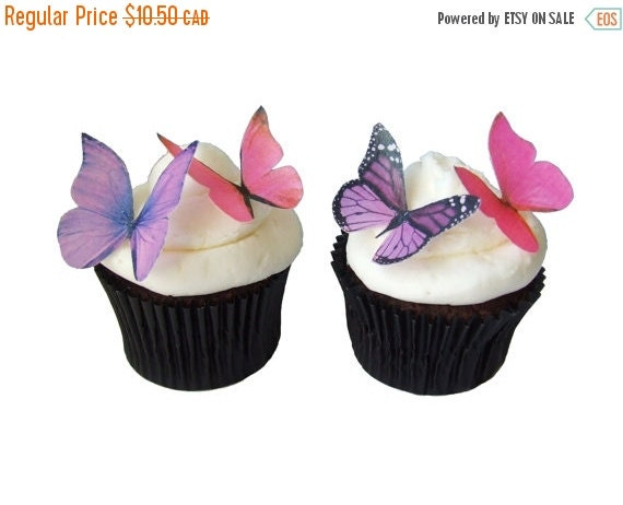 SALE Cake Cupcake Toppers EDIBLE BUTTERFLIES in 24 Pink and Purple - Edible Paper Butterflies, Cake Decorations, Wedding Cake, Birthday Deco