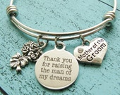 thank you for raising the man of my dreams, gift for mother in law to be, mother of the groom gift, wedding gift jewelry, mother bracelet