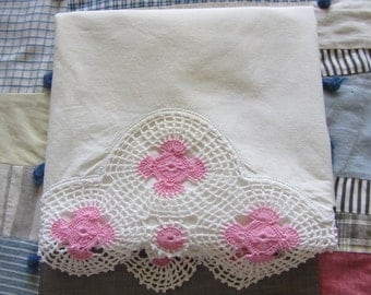 Vintage Pillowcase White Cotton Pink Crochet Lace Trim AS IS