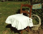 Chair Seat Cover - Ruffled Edge with Bow Ties - 18 x 18 inches -WHITE COTTON MUSLIN
