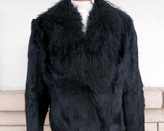 Vintage 60s 70s Black Shaggy Fur Coat . Rabbit Fur Jacket . Size Small