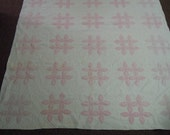 """Reserve for Roxie Vintage quilt: pink white  Lafayette's orange peel with feather wreaths. Exquisitely hand quilt and appliqued  76"""" x 77"""""""