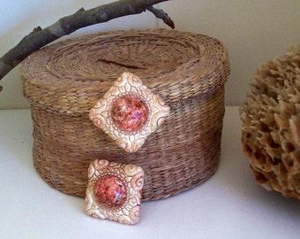 Textured Tile Clip Earrings
