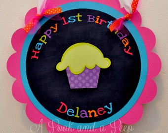 Bright Chalkboard Cupcake Dimensional Personalized Hanging Door Sign  for Birthday and Baby Showers