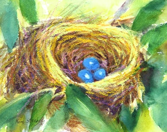 "Robin's Nest Painting, Original Mixed Media Watercolor, ""Robin's Nest"" by Kim Stenberg, Contemporary Art, Matted, Ready for a 10 x 12"" Frame"