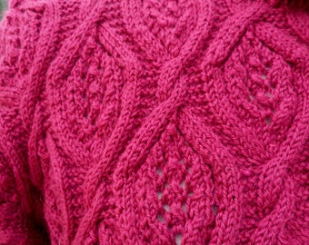 Beautifully hand knitted deep pink sweater