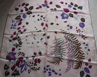 Vintage floral leafy pink purpleblack white scarf silky with handstitched rolled edge