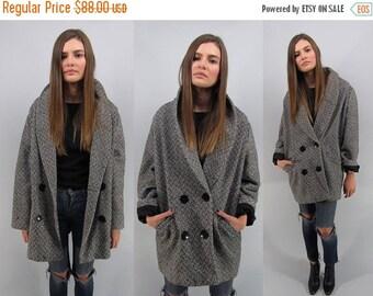 On Sale - Vintage 80s Tweed Coat, Oversized Coat, Tuxedo Coat, Double-Breasted Herringbone Coat Δ size: md / lg