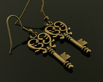 Antique bronze metal key  earrings