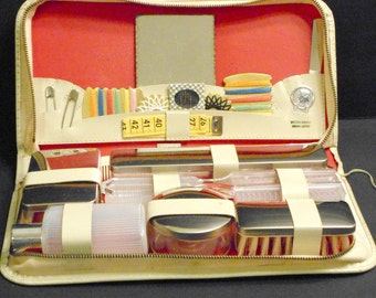 NEW with Tag Vintage 1960s TRAVEL Kit LEATHER Western Germany Sewing Kit Comb Brush Jars Needles Thread