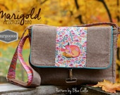 Marigold Messenger Bag in Nutmeg Linen blend and Tula Pink Chipper Fox Nap, purse, bag, Cross Body