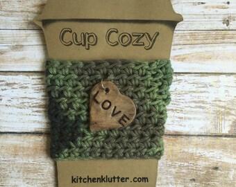 Handmade Cotton Reusable Crochet To Go Coffee Cup Cozy Sleeve on Cardstock Card Camo Green Love Heart Charm
