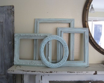 Eclectic Open Frame Wall Collection -  Set of  4 Ornate & Rustic - Distressed  Shabby Chic -  Vintage Frames in Aqua, Mint