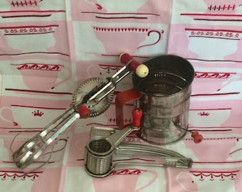 Vintage 50s  Retro Collection of 3 Kitchen Gadget - Red Handled Food Prep Essentials -  Flour Sifter - Hand Mixer and Cheese Grater