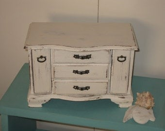 """Shabby Chic Vintage Wood Jewelry Box Musical Chest """"Love Story"""" in Distressed in Cream"""