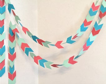 Arrow Head garland - Tribal Aztec banner - Coral Mint Teal Wild One Birthday Party decor - Baby Shower decor- your color choices