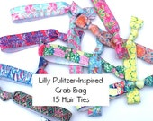 GRAB BAG - 15 Random Lilly Pulitzer-Inspired PRINTED Elastic Yoga Comfort Hair Ties / Bracelets / Hair Band