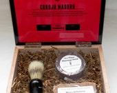Spiced Mahogany Scented Cigar Box Deluxe Shave/Shaving Set Kit - Camacho