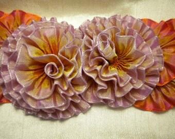Lavender Orange  Ombre Ribbon Flower Applique Hatband