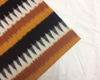 Ikat Cotton fabric handloom/homespun Ikat fabric/Ikat fabric by the yard in white,black,rust and mustard