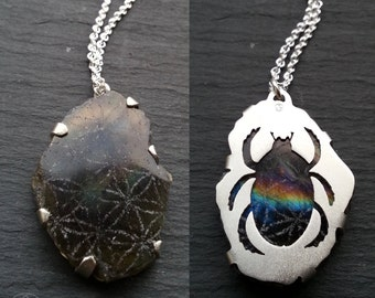 Scarab Flower of Life Pendant - Sterling silver and Labradorite - Handcrafted Sacred Geometry Jewellery