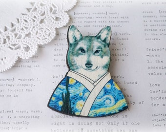 Wooden Fancy Dressed Wolf Brooch