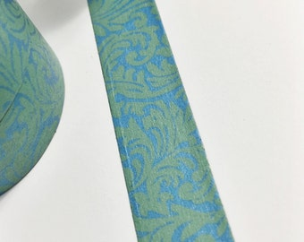Green Damask on Metallic Blue Shiny Blue and Green Damask Washi Tape 11 yards 10 meters 15mm