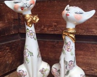 Pair of Vintage hand painted ceramic cat statues figurines