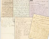 Digital manuscript, handwriting Papers pack // vintage letters // beige background // Commercial Use // 8.5 x 11 in sheets 6 papers (1000us)