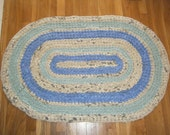 Blue and Green Oval Area Rug