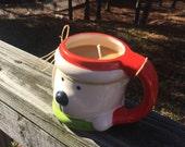Natural Soy Candle, Christmas Mug Candle, Holiday Bear Mug Candle, Handmade Soy Candle, Handmade Candle