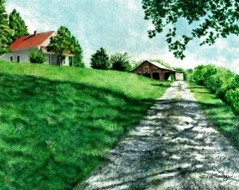Country Rural Farm Drawing Original Art Free Shipping
