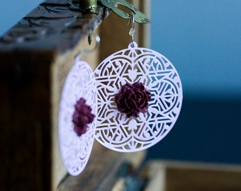 Pastel Violet Floral Earrings Antique Ruby Flower Earrings Lavender Lace Earrings Lilac Filigree Earrings Statement Round Earrings - E320