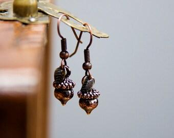 Brown Acorn Earrings Oak Tree Nut Tiny Leaf Earrings Woodland Chocolate Brown Earrings - E254