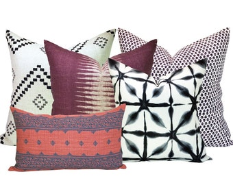 Spark Modern Curated Collection #8 - Taj Onyx/Ash, Ikat Pasha, Bindi Brinjal, Fez Indigo/Raspberry, and Andromeda Indigo - 5 pillow covers