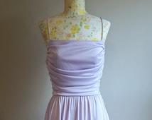 Lilac Prom Dress | 70s Disco Dress | Pale Purple Dress | Hi Lo Hem | High Low Dress | Vintage Formal