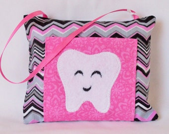 Pink & BLack Chevron Tooth Fairy Pillow
