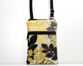 Black, Gold, Gray, and Yellow Leaves Double Zipper Crossbody Bag Small Cell Phone Shoulder Purse Smart Phone Bag Travel Bag - Made to Order