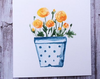 Watercolour Yellow Ranunculus  Pot Blank Greeting Card