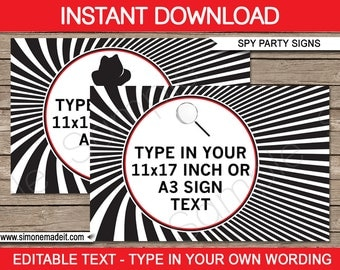Spy Party Signs - INSTANT DOWNLOAD with EDITABLE text - pdf templates - 11x17 inches and A3 sizes