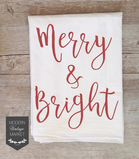 Kitchen Towels -Flour Sack Towel -Christmas Towels-  Kitchen Towel - Dish Towel- Vintage Christmas Decoration-Hostess Gift-Gift for Her-Red