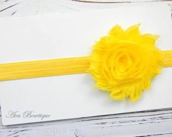 Chiffon Flower Headband - Yellow Flower Headband - Yellow Chiffon Headband - Baby Chiffon Headband
