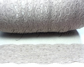 """Elastic Lace, 2"""", TAUPE, Lace by the yard, Stretch Lace, FOE Elastic, Lace Trim, Elastic Headband, Stretch Elastic, Headband Lace"""
