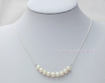 Natural Freshwater Pearl Necklace, Simple Pearl Necklace, Bib Necklace, wedding, bridal party, bridesmaids , Christmas mother Jewelry