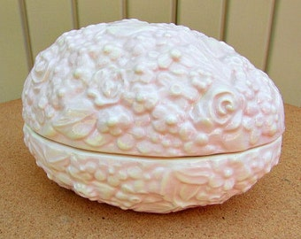 vintage 90s pink floral ceramic covered egg dish large hand made