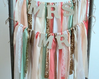 Set of Chair Sashes Mr & Mrs Chair Garlands Bride and Groom Mint and Burlap Wedding Decor